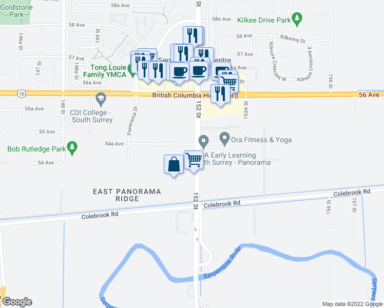 map of restaurants, bars, coffee shops, grocery stores, and more near 107 152 Street in Surrey