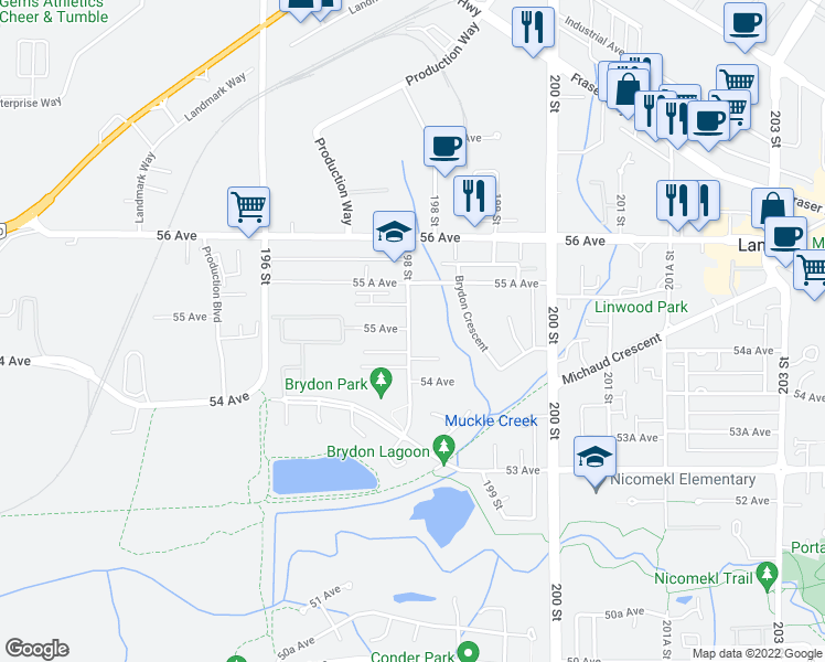 map of restaurants, bars, coffee shops, grocery stores, and more near 5474 198 Street in Langley City