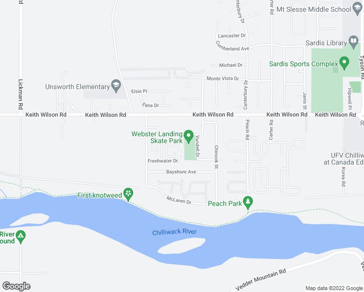 map of restaurants, bars, coffee shops, grocery stores, and more near Pebble Lane in Chilliwack