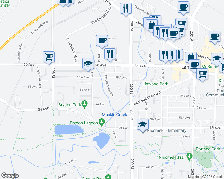map of restaurants, bars, coffee shops, grocery stores, and more near 5476 Brydon Crescent in Langley City