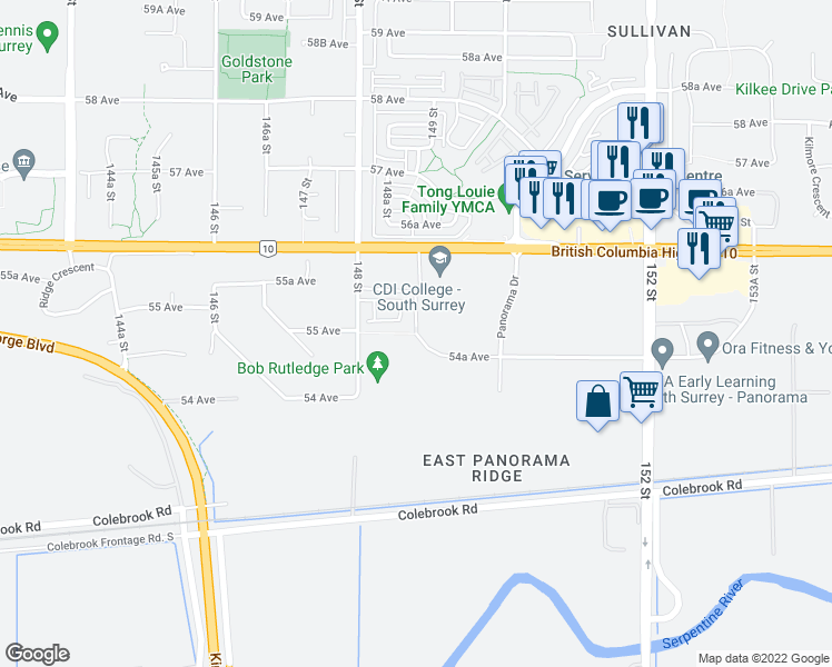 map of restaurants, bars, coffee shops, grocery stores, and more near 12715 54A Avenue in Surrey