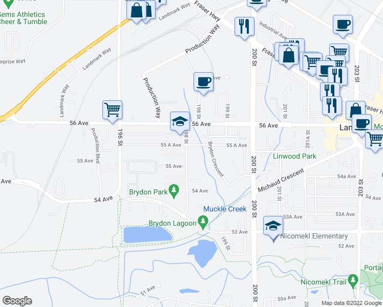 map of restaurants, bars, coffee shops, grocery stores, and more near 5516 198 Street in Langley