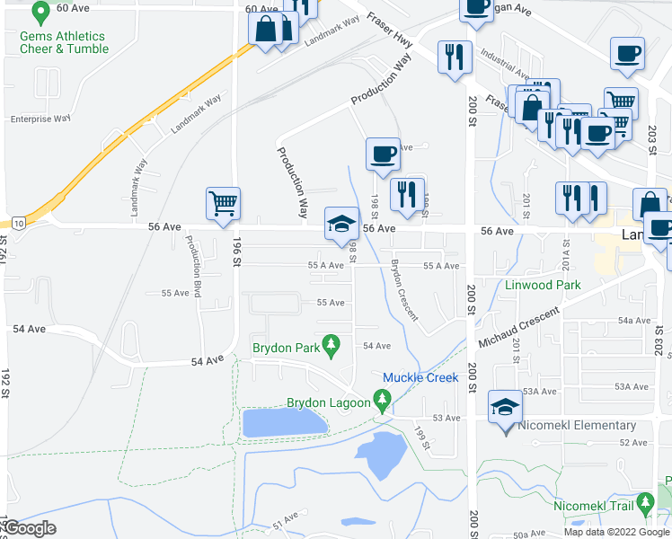 map of restaurants, bars, coffee shops, grocery stores, and more near 19752 55 A Avenue in Langley City