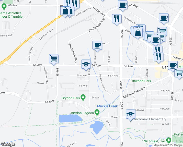 map of restaurants, bars, coffee shops, grocery stores, and more near 5520 198 Street in Langley