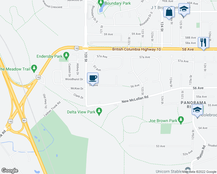 map of restaurants, bars, coffee shops, grocery stores, and more near 12110 56 Avenue in Surrey