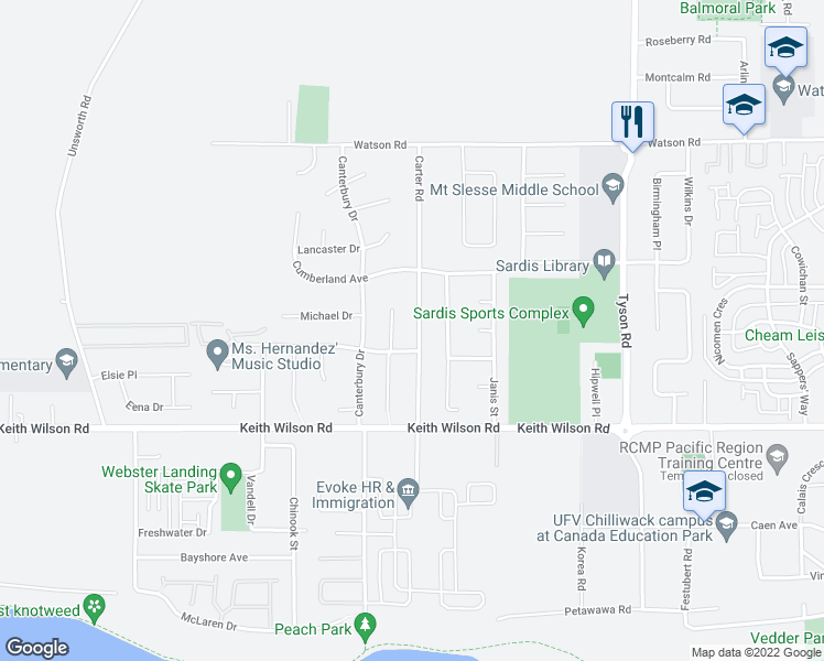 map of restaurants, bars, coffee shops, grocery stores, and more near 5731 Carter Road in Chilliwack