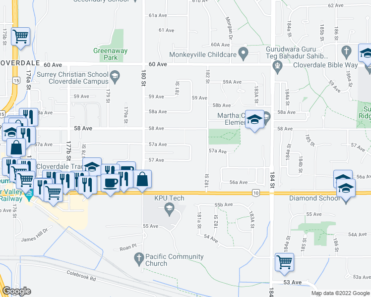 map of restaurants, bars, coffee shops, grocery stores, and more near 18134 57A Avenue in Surrey