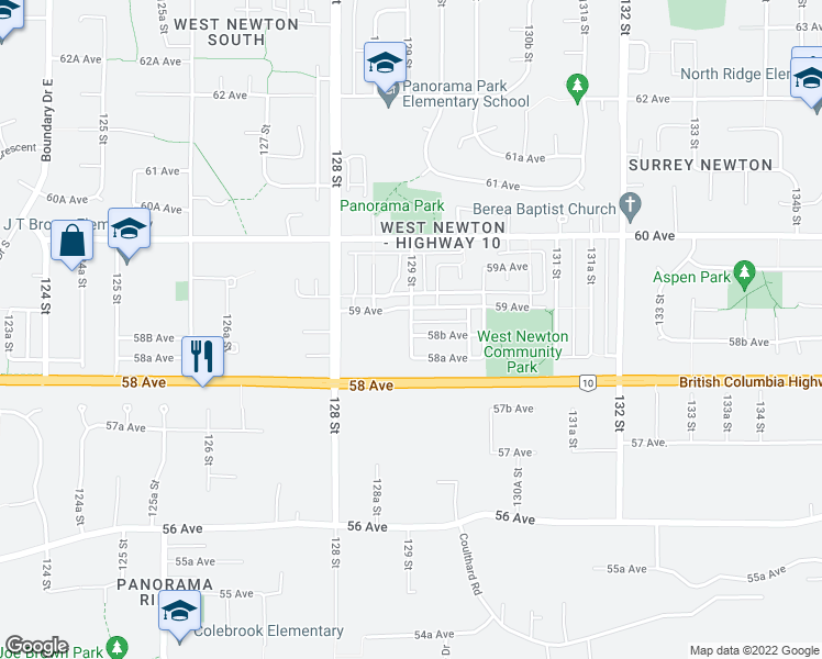 map of restaurants, bars, coffee shops, grocery stores, and more near 5867 129 Street in Surrey