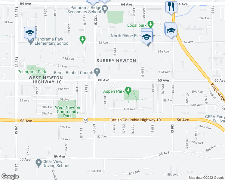 map of restaurants, bars, coffee shops, grocery stores, and more near 5968 133 Street in Surrey
