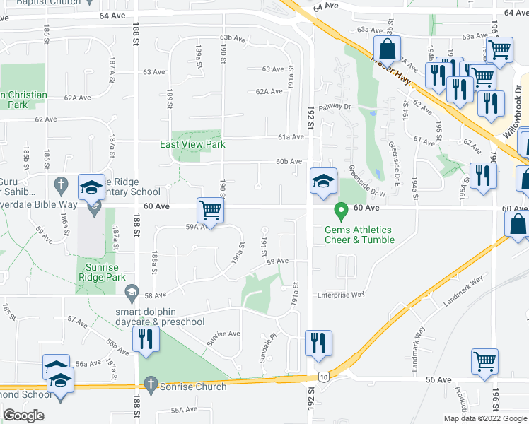 map of restaurants, bars, coffee shops, grocery stores, and more near 19102 60 Avenue in Surrey