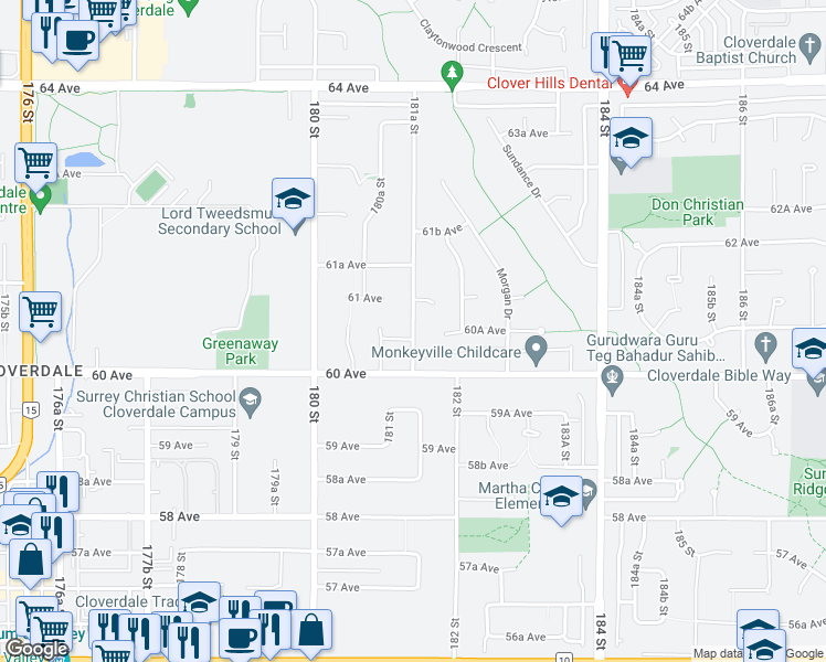 map of restaurants, bars, coffee shops, grocery stores, and more near 6052 181A Street in Surrey