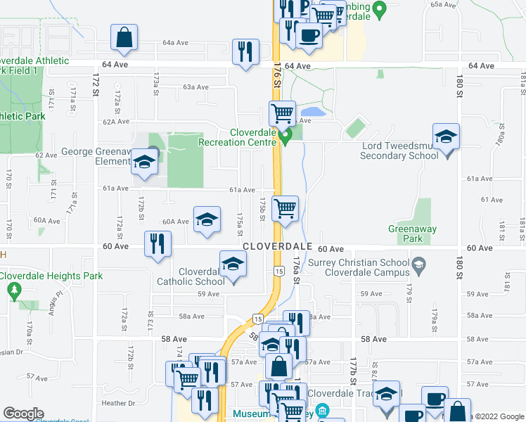 map of restaurants, bars, coffee shops, grocery stores, and more near 6038 175B Street in Surrey