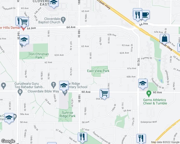 map of restaurants, bars, coffee shops, grocery stores, and more near 18890 61A Avenue in Surrey