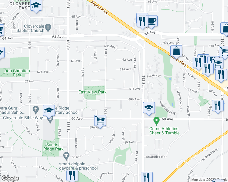 map of restaurants, bars, coffee shops, grocery stores, and more near 19046 61A Avenue in Surrey