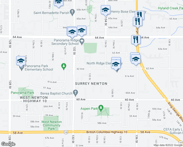 map of restaurants, bars, coffee shops, grocery stores, and more near 6166 133 Street in Surrey