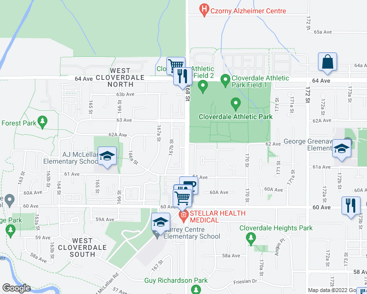 map of restaurants, bars, coffee shops, grocery stores, and more near 6195 168 Street in Surrey