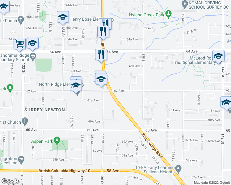 map of restaurants, bars, coffee shops, grocery stores, and more near 13670 62 Avenue in Surrey