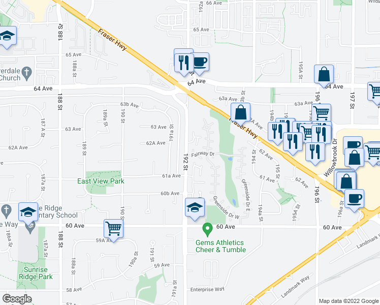 map of restaurants, bars, coffee shops, grocery stores, and more near 19203 Fairway Drive in Surrey