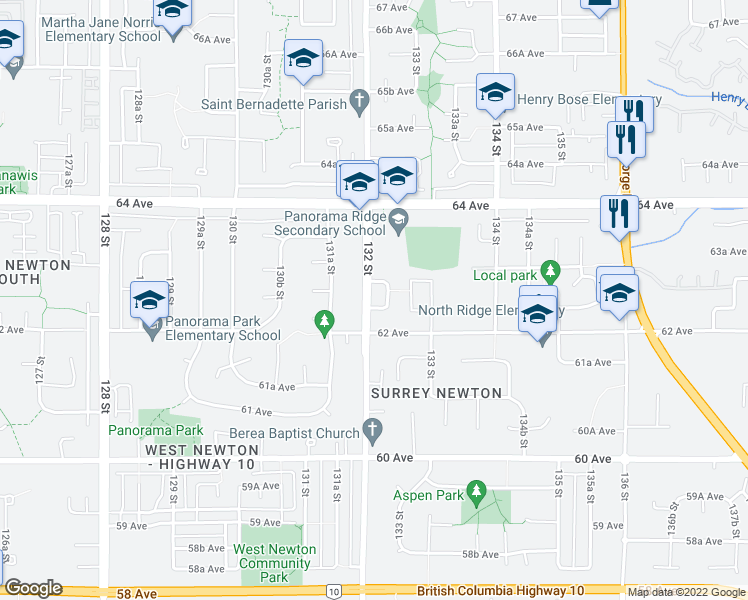 map of restaurants, bars, coffee shops, grocery stores, and more near 6254 132 Street in Surrey