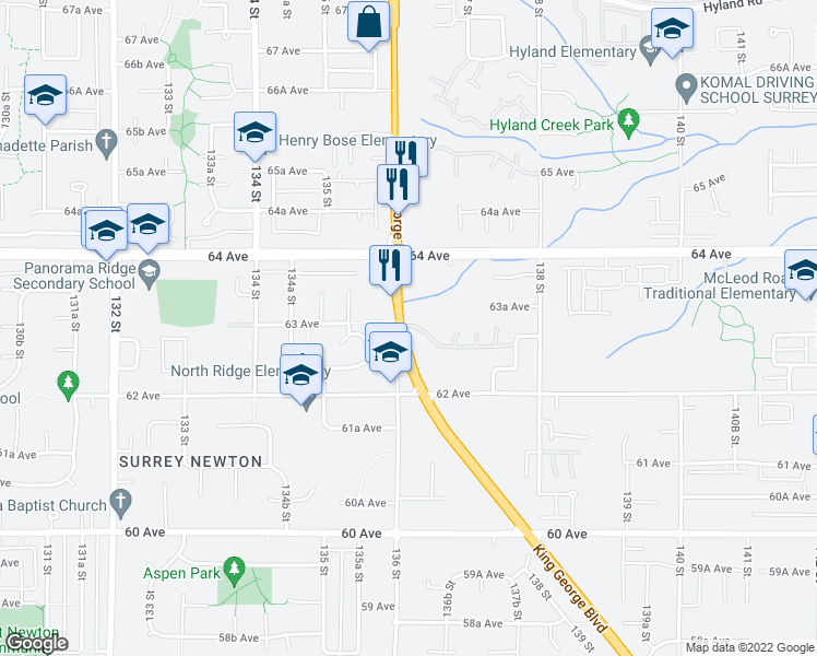 map of restaurants, bars, coffee shops, grocery stores, and more near 6280 King George Boulevard in Surrey