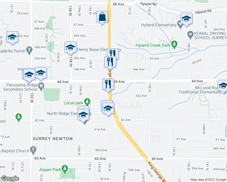 map of restaurants, bars, coffee shops, grocery stores, and more near 6388 King George Boulevard in Surrey