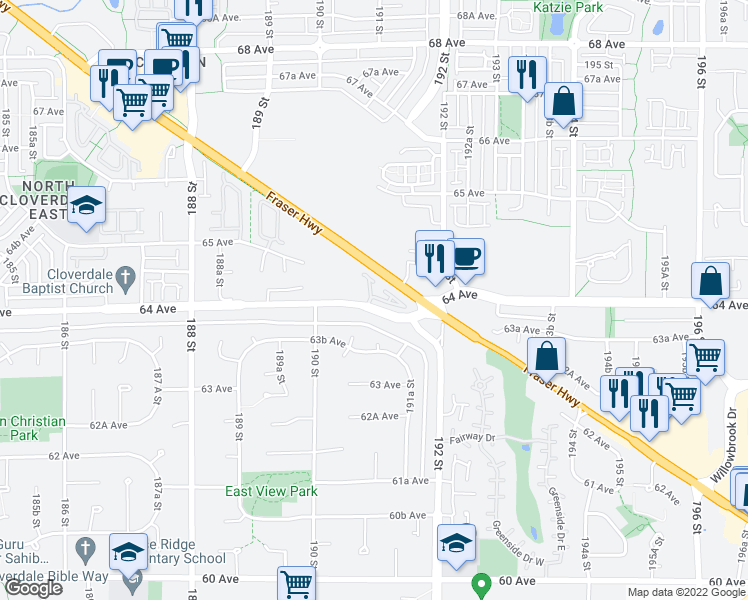 map of restaurants, bars, coffee shops, grocery stores, and more near 19097 64 Avenue in Surrey