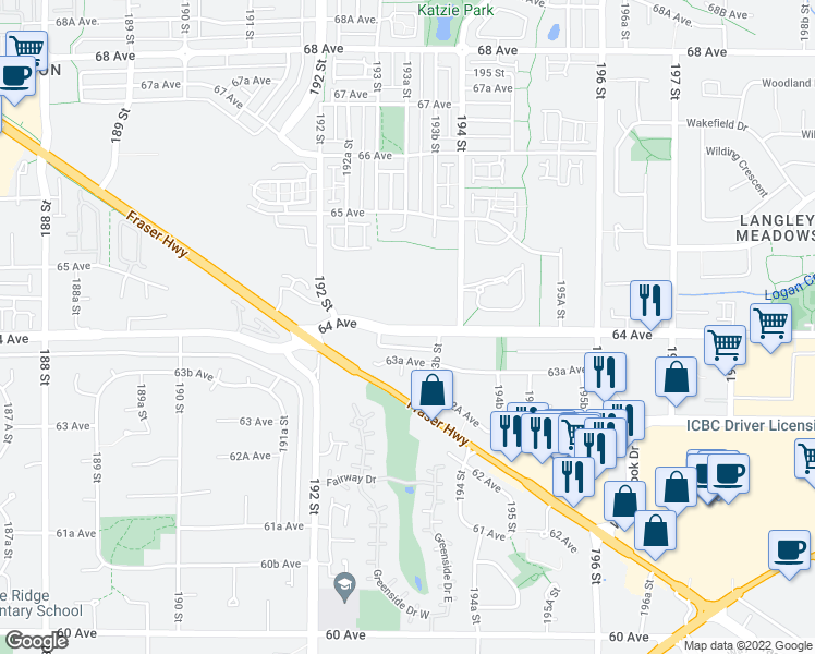 map of restaurants, bars, coffee shops, grocery stores, and more near 19299 64 Avenue in Surrey