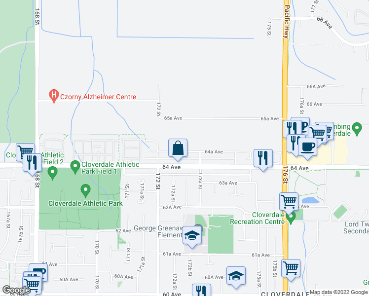map of restaurants, bars, coffee shops, grocery stores, and more near 17281 64A Avenue in Surrey