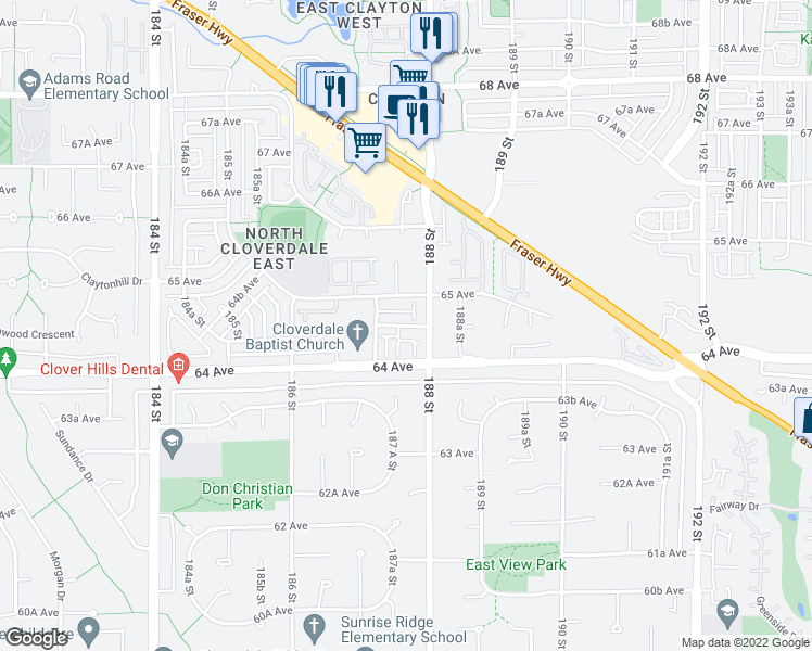 map of restaurants, bars, coffee shops, grocery stores, and more near 6450 187 Street in Surrey