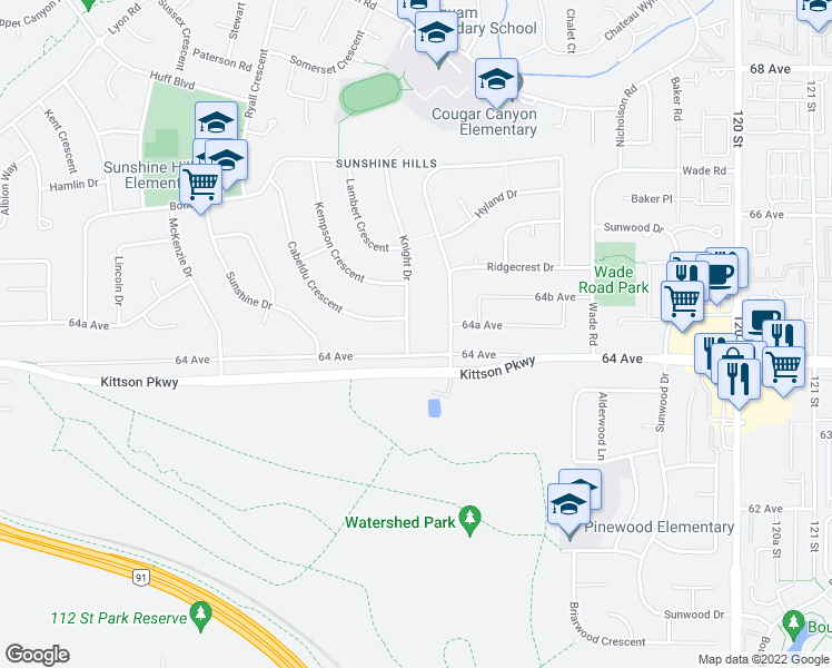 map of restaurants, bars, coffee shops, grocery stores, and more near 6430 Knight Drive in Delta