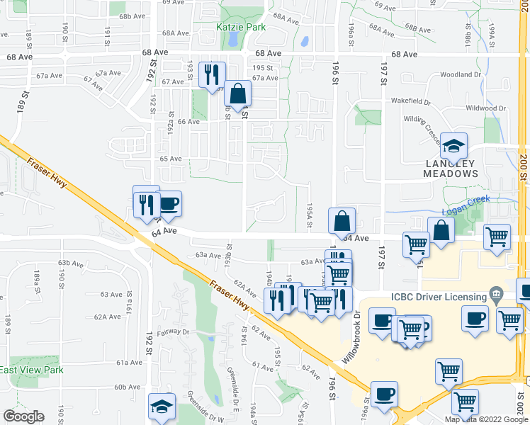 map of restaurants, bars, coffee shops, grocery stores, and more near 6450 194 Street in Surrey