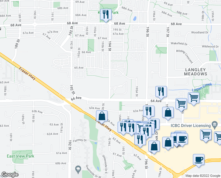 map of restaurants, bars, coffee shops, grocery stores, and more near 6410-6490 194 Street in Surrey