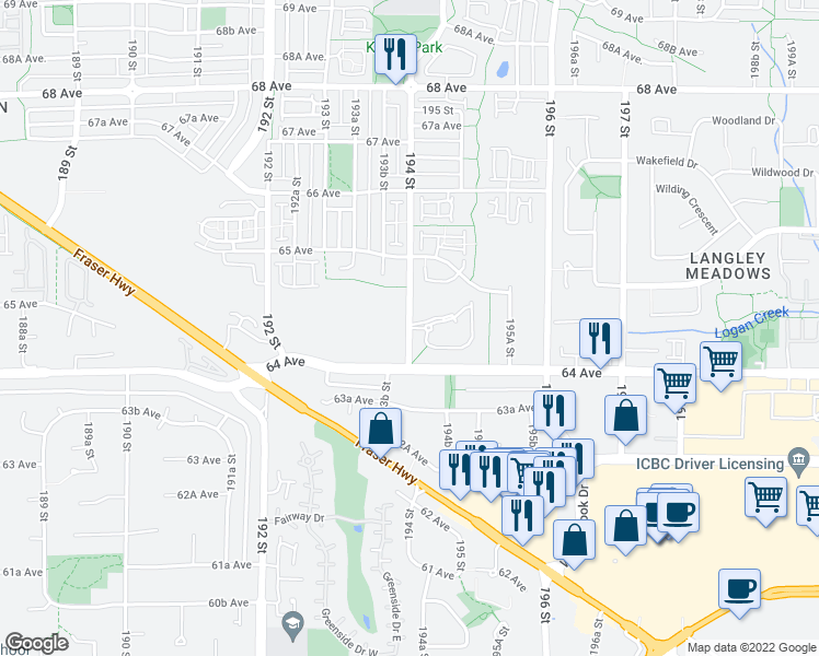 map of restaurants, bars, coffee shops, grocery stores, and more near 6460 194 Street in Surrey