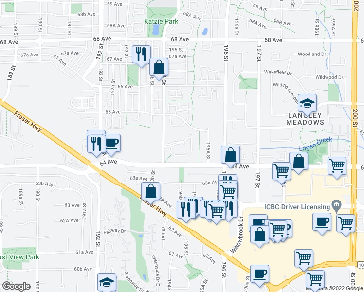 map of restaurants, bars, coffee shops, grocery stores, and more near 6480 194 Street in Surrey