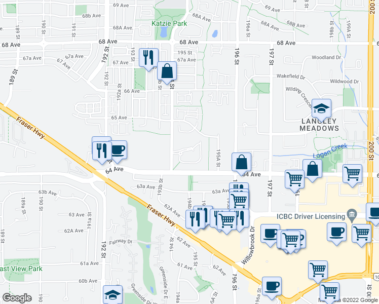 map of restaurants, bars, coffee shops, grocery stores, and more near 6470 194 Street in Surrey