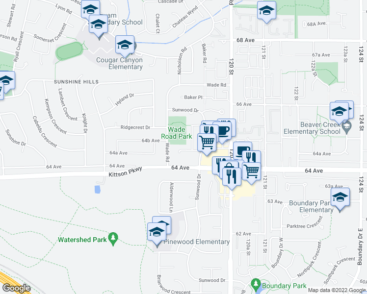 map of restaurants, bars, coffee shops, grocery stores, and more near 11857 Woodlynn Court in Delta