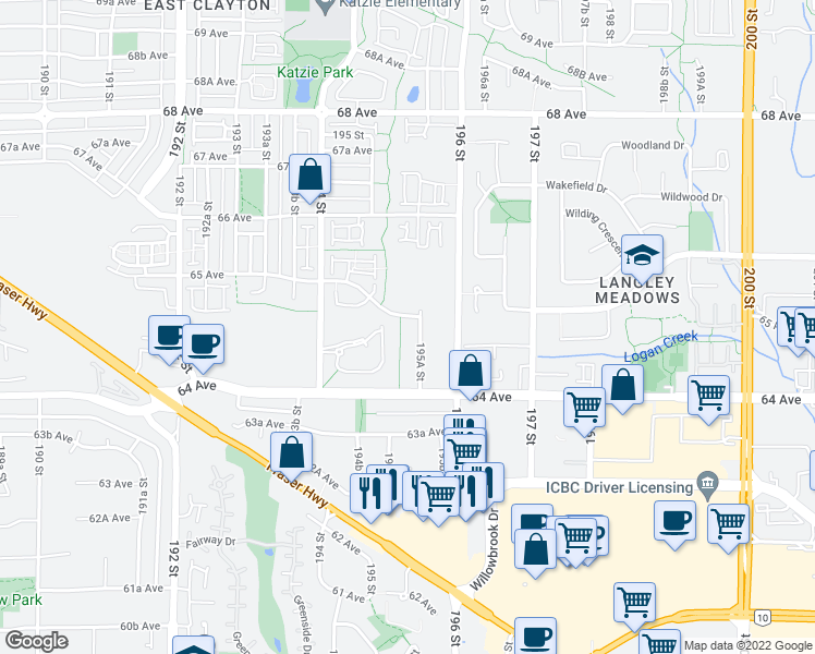 map of restaurants, bars, coffee shops, grocery stores, and more near 19530 65 Avenue in Surrey