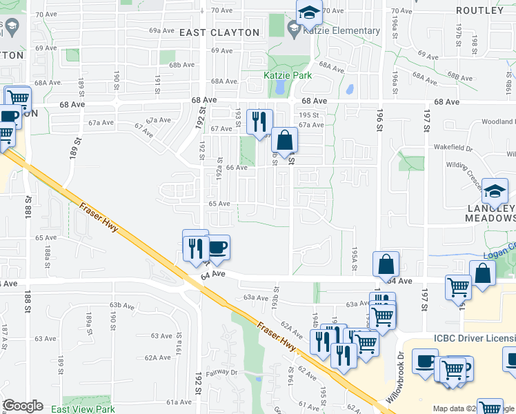 map of restaurants, bars, coffee shops, grocery stores, and more near 19340 65 Avenue in Surrey