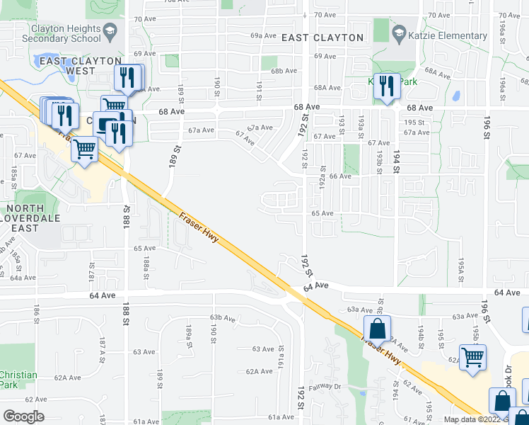 map of restaurants, bars, coffee shops, grocery stores, and more near 13815 65 Avenue in Surrey