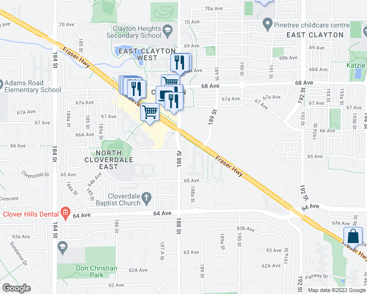 map of restaurants, bars, coffee shops, grocery stores, and more near 6588 188 Street in Surrey