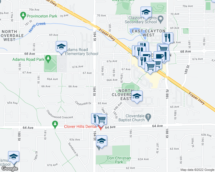 map of restaurants, bars, coffee shops, grocery stores, and more near 18477 66 Avenue in Surrey