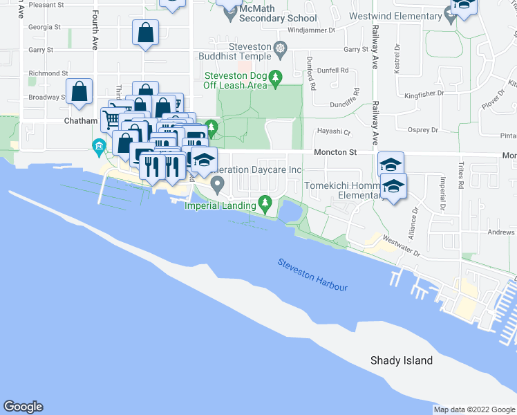 map of restaurants, bars, coffee shops, grocery stores, and more near 4280 Bayview Street in Richmond