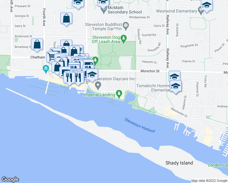 map of restaurants, bars, coffee shops, grocery stores, and more near 4180 Bayview Street in Richmond