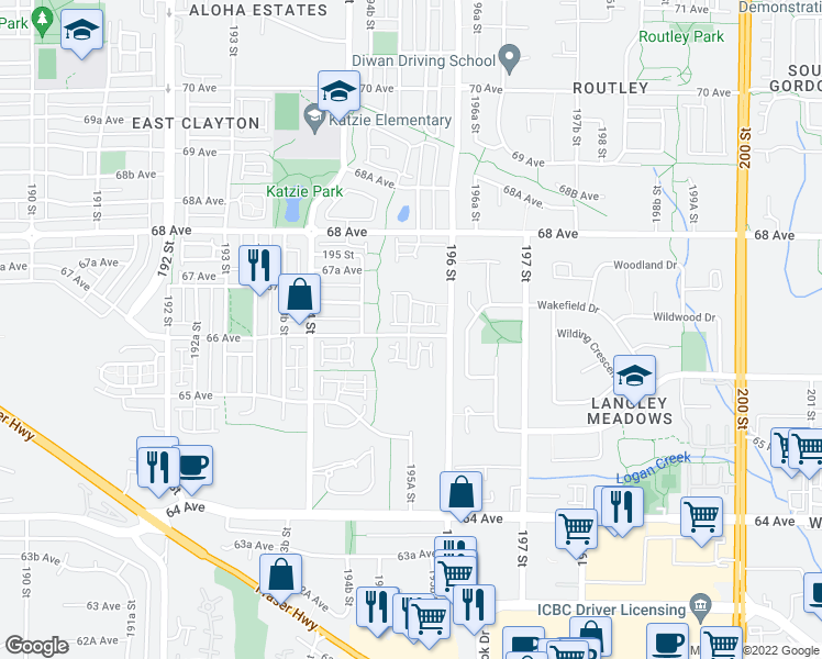 map of restaurants, bars, coffee shops, grocery stores, and more near 19551 66 Avenue in Surrey