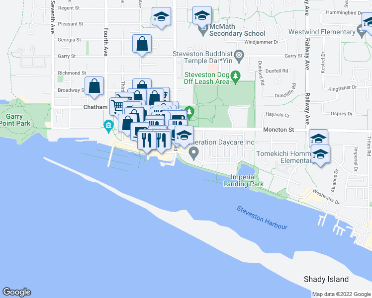 map of restaurants, bars, coffee shops, grocery stores, and more near 4111 Bayview Street in Richmond