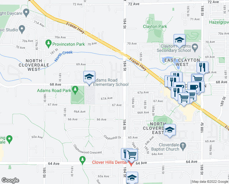 map of restaurants, bars, coffee shops, grocery stores, and more near 183B Street in Surrey