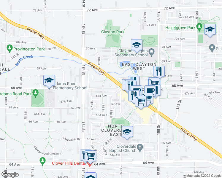 map of restaurants, bars, coffee shops, grocery stores, and more near 18548 68 Avenue in Surrey