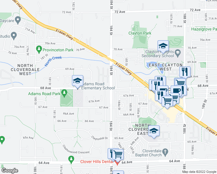 map of restaurants, bars, coffee shops, grocery stores, and more near 13 68 Avenue in Surrey