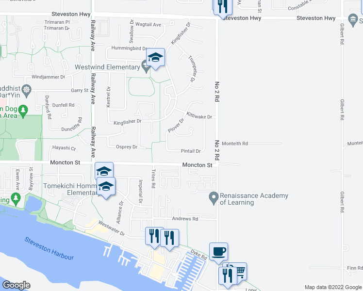 map of restaurants, bars, coffee shops, grocery stores, and more near 11831 Pintail Drive in Richmond
