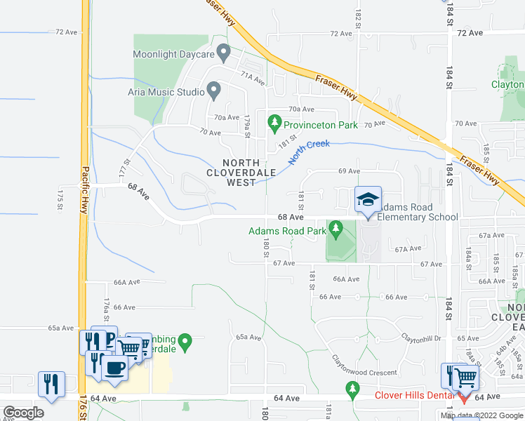 map of restaurants, bars, coffee shops, grocery stores, and more near 6818 180 Street in Surrey